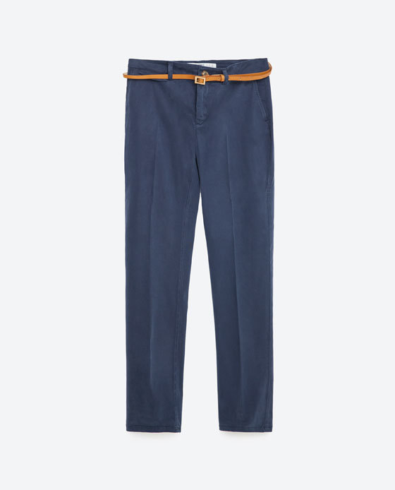 Chinos - pattern: plain; waist detail: belted waist/tie at waist/drawstring; waist: mid/regular rise; predominant colour: denim; length: ankle length; style: chino; fibres: cotton - 100%; texture group: cotton feel fabrics; fit: straight leg; pattern type: fabric; occasions: creative work; season: s/s 2016; wardrobe: highlight