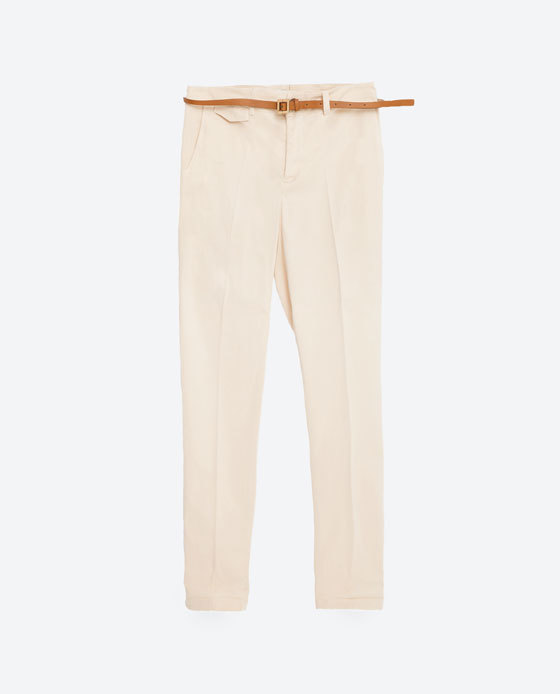 Chinos - length: standard; pattern: plain; waist detail: belted waist/tie at waist/drawstring; waist: mid/regular rise; predominant colour: blush; occasions: casual, holiday, creative work; style: chino; fibres: cotton - mix; fit: straight leg; pattern type: fabric; texture group: other - light to midweight; season: s/s 2016; wardrobe: basic