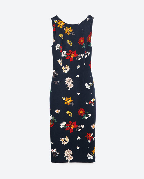 Floral Tube Dress - style: shift; neckline: round neck; fit: tailored/fitted; sleeve style: sleeveless; secondary colour: true red; predominant colour: navy; length: on the knee; fibres: polyester/polyamide - stretch; sleeve length: sleeveless; pattern type: fabric; pattern size: standard; pattern: florals; texture group: woven light midweight; occasions: creative work; multicoloured: multicoloured; season: s/s 2016; wardrobe: highlight