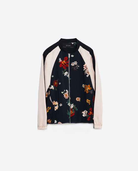 Printed Bomber Jacket - collar: round collar/collarless; style: bomber; secondary colour: nude; predominant colour: black; occasions: casual, creative work; length: standard; fit: straight cut (boxy); fibres: polyester/polyamide - 100%; sleeve length: long sleeve; sleeve style: standard; collar break: high; pattern type: fabric; pattern size: standard; pattern: florals; texture group: woven light midweight; multicoloured: multicoloured; season: s/s 2016; wardrobe: highlight