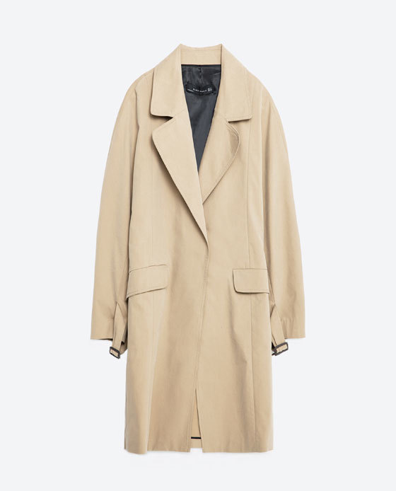 Long Trench Coat - pattern: plain; style: trench coat; length: on the knee; collar: standard lapel/rever collar; predominant colour: stone; occasions: casual, creative work; fit: straight cut (boxy); fibres: cotton - mix; sleeve length: long sleeve; sleeve style: standard; collar break: low/open; pattern type: fabric; texture group: woven light midweight; season: s/s 2016; wardrobe: basic