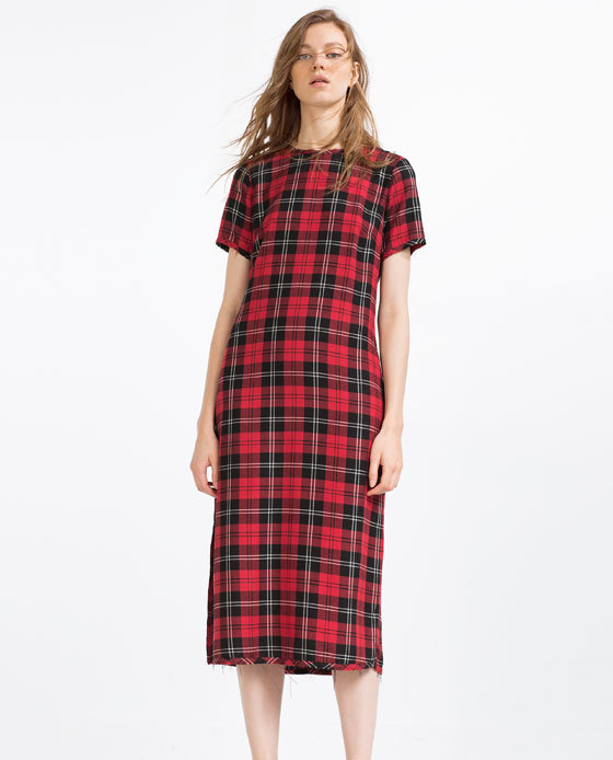 Long Check Dress - style: shift; length: below the knee; pattern: checked/gingham; predominant colour: true red; secondary colour: black; occasions: casual, creative work; fit: straight cut; fibres: polyester/polyamide - 100%; neckline: crew; sleeve length: short sleeve; sleeve style: standard; pattern type: fabric; pattern size: standard; texture group: woven light midweight; season: s/s 2016; wardrobe: highlight