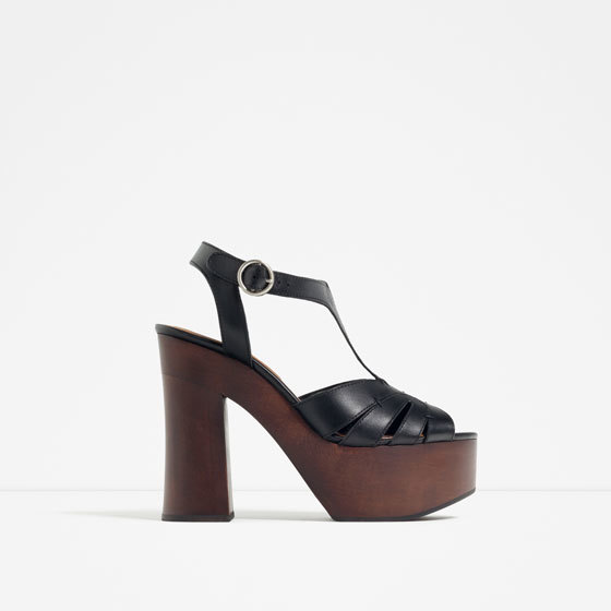 Wooden Platform Leather Sandals - predominant colour: black; occasions: casual, holiday, creative work; material: leather; heel height: high; ankle detail: ankle strap; heel: block; toe: open toe/peeptoe; style: strappy; finish: plain; pattern: plain; shoe detail: platform; season: s/s 2016; wardrobe: investment