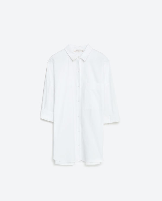 Oversized Poplin Shirt - neckline: shirt collar/peter pan/zip with opening; pattern: plain; length: below the bottom; style: shirt; predominant colour: white; occasions: casual, creative work; fibres: cotton - 100%; fit: straight cut; sleeve length: 3/4 length; sleeve style: standard; texture group: cotton feel fabrics; pattern type: fabric; season: s/s 2016; wardrobe: basic