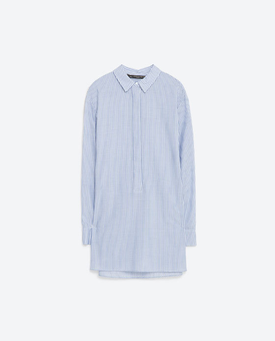 Striped Shirt - neckline: shirt collar/peter pan/zip with opening; length: below the bottom; style: shirt; pattern: pinstripe; predominant colour: pale blue; occasions: casual; fibres: cotton - mix; fit: body skimming; sleeve length: long sleeve; sleeve style: standard; texture group: cotton feel fabrics; pattern type: fabric; season: s/s 2016; wardrobe: highlight