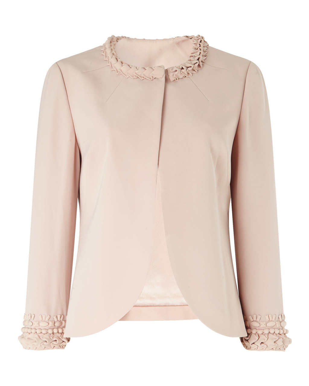 Jacket One - pattern: plain; collar: round collar/collarless; style: boxy; predominant colour: blush; length: standard; fit: straight cut (boxy); fibres: polyester/polyamide - 100%; occasions: occasion, creative work; sleeve length: long sleeve; sleeve style: standard; texture group: crepes; collar break: high; pattern type: fabric; season: s/s 2016; wardrobe: investment