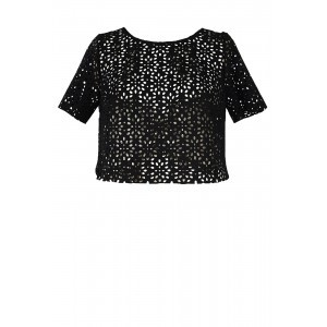 Neoprene Lasercut T Shirt - pattern: plain; style: t-shirt; predominant colour: black; occasions: evening; length: standard; fibres: polyester/polyamide - mix; fit: body skimming; neckline: crew; sleeve length: short sleeve; sleeve style: standard; pattern type: fabric; texture group: other - light to midweight; season: s/s 2016; wardrobe: event