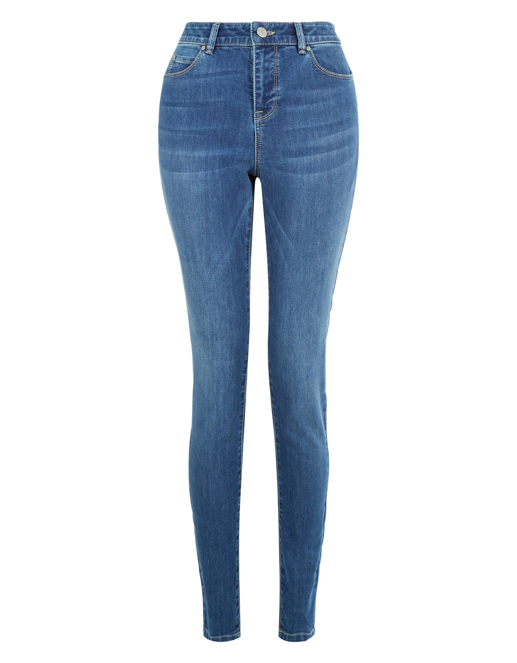 Iris Light Wash Skinny Jean - style: skinny leg; length: standard; pattern: plain; waist: high rise; predominant colour: denim; occasions: casual, creative work; fibres: cotton - stretch; jeans detail: whiskering; texture group: denim; pattern type: fabric; season: s/s 2016