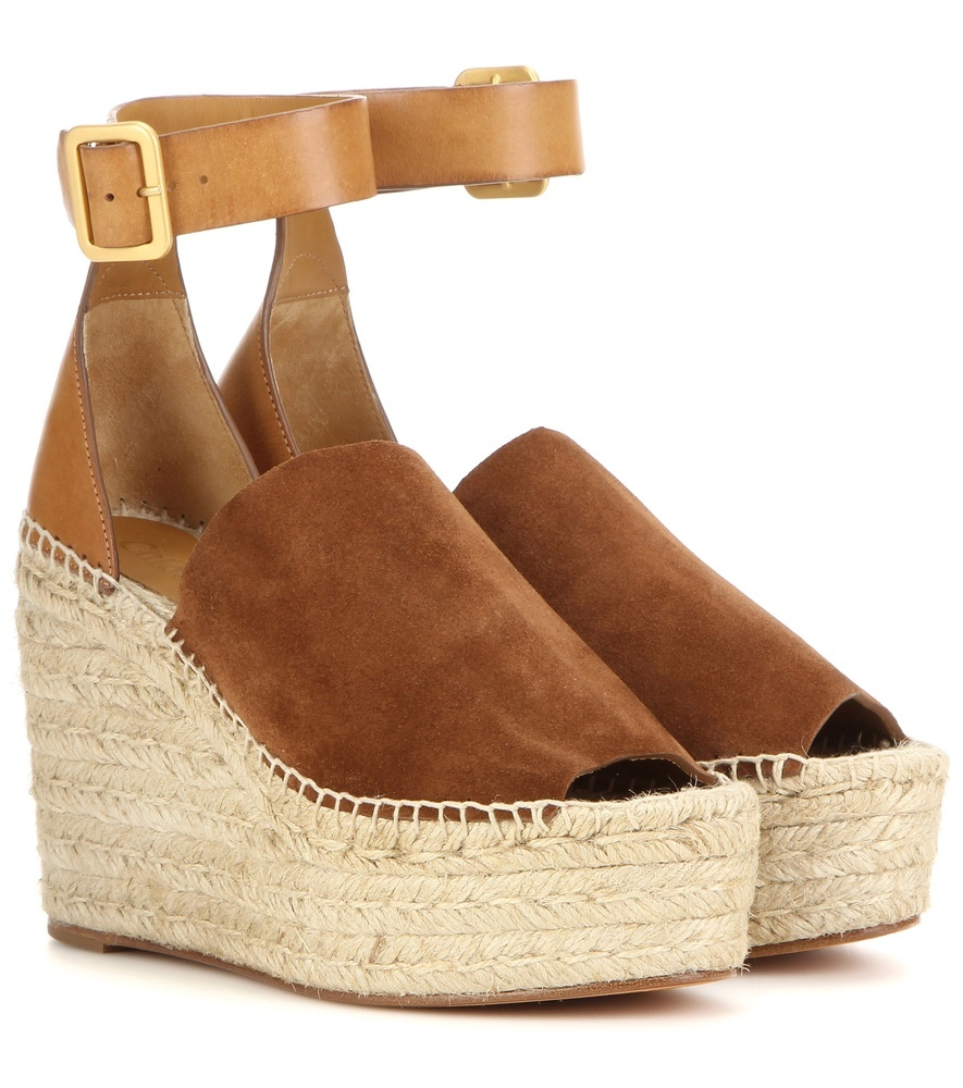 Suede And Leather Wedge Espadrilles - predominant colour: tan; material: suede; ankle detail: ankle strap; heel: wedge; toe: open toe/peeptoe; finish: plain; pattern: plain; heel height: very high; occasions: creative work; shoe detail: platform; style: espadrilles; season: s/s 2016; wardrobe: highlight
