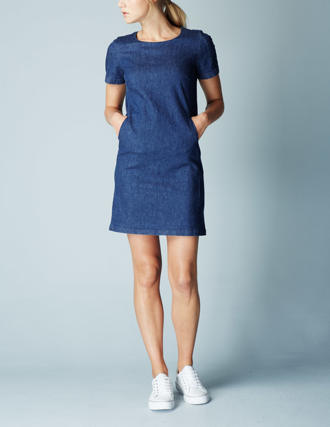 Pippa Tunic Summer Shift Dress Blue, Vintage Denim - style: shift; length: mid thigh; pattern: plain; predominant colour: royal blue; occasions: casual; fit: body skimming; fibres: cotton - stretch; neckline: crew; sleeve length: short sleeve; sleeve style: standard; texture group: denim; pattern type: fabric; season: s/s 2016; wardrobe: basic