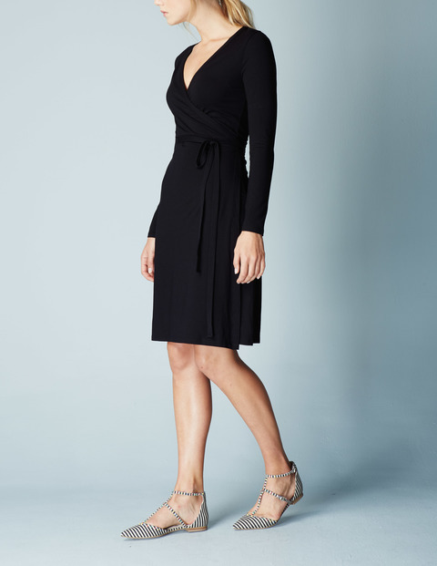 Jersey Wrap Summer Dress Blue, Black - style: faux wrap/wrap; neckline: low v-neck; pattern: plain; waist detail: belted waist/tie at waist/drawstring; predominant colour: black; length: on the knee; fit: body skimming; fibres: viscose/rayon - stretch; sleeve length: long sleeve; sleeve style: standard; pattern type: fabric; texture group: jersey - stretchy/drapey; occasions: creative work; season: s/s 2016; wardrobe: investment
