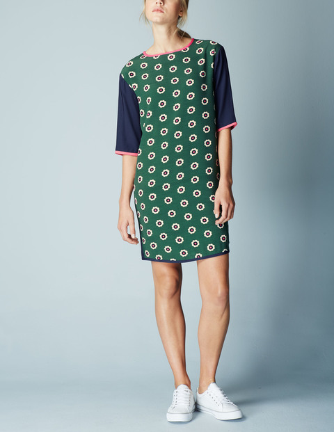 Daisy Colourblock Tunic Summer Dress Green Graphic Floral Women, Green Graphic Floral - style: shift; secondary colour: navy; predominant colour: dark green; occasions: casual; length: just above the knee; fit: body skimming; fibres: viscose/rayon - 100%; neckline: crew; sleeve length: half sleeve; sleeve style: standard; pattern type: fabric; pattern: patterned/print; texture group: other - light to midweight; multicoloured: multicoloured; season: s/s 2016; wardrobe: highlight