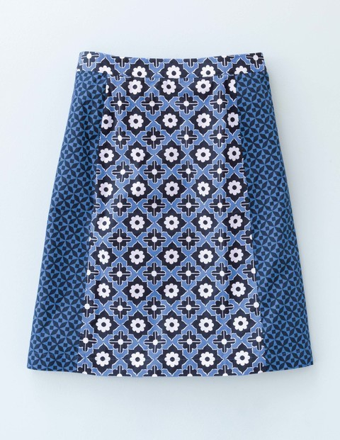 Printed Cotton A Line Cabin Blue Print Women, Cabin Blue Print - fit: loose/voluminous; waist: high rise; predominant colour: royal blue; occasions: casual, creative work; length: just above the knee; style: a-line; fibres: cotton - 100%; texture group: cotton feel fabrics; pattern type: fabric; pattern: patterned/print; season: s/s 2016; wardrobe: highlight