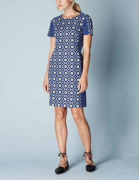 Pippa Tunic Summer Shift Dress Blue, Cabin Tile - style: shift; neckline: round neck; fit: tailored/fitted; secondary colour: white; predominant colour: royal blue; occasions: casual, evening, creative work; length: just above the knee; fibres: cotton - stretch; sleeve length: short sleeve; sleeve style: standard; pattern type: fabric; pattern size: big & busy; pattern: patterned/print; texture group: other - light to midweight; season: s/s 2016