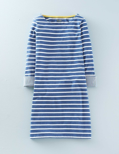 Bestselling Breton Tunic Dress Navy, Denim Marl/Ivory - neckline: round neck; pattern: horizontal stripes; length: below the bottom; style: tunic; secondary colour: white; predominant colour: royal blue; occasions: casual; fibres: cotton - 100%; fit: body skimming; sleeve length: long sleeve; sleeve style: standard; pattern type: fabric; texture group: jersey - stretchy/drapey; season: s/s 2016; wardrobe: highlight