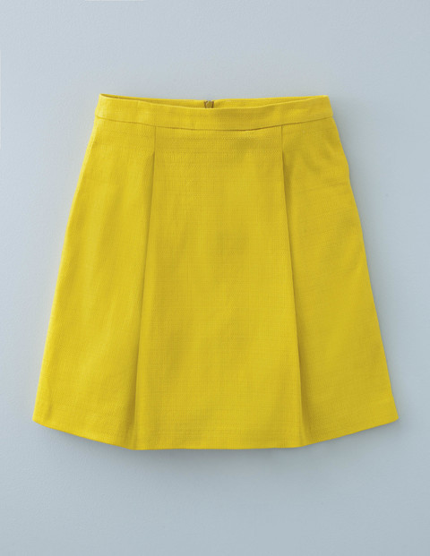 Kate Skirt Mimosa Yellow Women, Mimosa Yellow - length: mid thigh; pattern: plain; fit: loose/voluminous; style: pleated; waist: high rise; predominant colour: mustard; occasions: casual, creative work; fibres: cotton - stretch; hip detail: adds bulk at the hips; pattern type: fabric; texture group: woven light midweight; season: s/s 2016; wardrobe: highlight