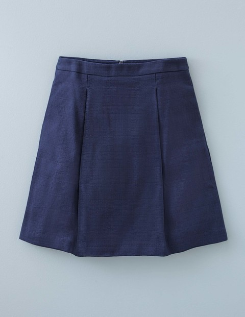 Kate Skirt Navy Women, Navy - length: mid thigh; pattern: plain; fit: loose/voluminous; waist: mid/regular rise; predominant colour: navy; occasions: casual, creative work; style: a-line; fibres: cotton - stretch; hip detail: structured pleats at hip; texture group: cotton feel fabrics; pattern type: fabric; season: s/s 2016