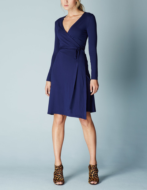 Jersey Wrap Summer Dress Blue, Navy - style: faux wrap/wrap; neckline: low v-neck; pattern: plain; waist detail: belted waist/tie at waist/drawstring; predominant colour: navy; length: on the knee; fit: fitted at waist & bust; fibres: viscose/rayon - stretch; sleeve length: long sleeve; sleeve style: standard; pattern type: fabric; texture group: jersey - stretchy/drapey; occasions: creative work; season: s/s 2016; wardrobe: investment