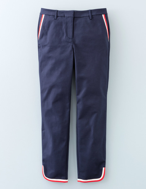 Twickenham Tipped Trouser Navy Women, Navy - pattern: plain; waist: mid/regular rise; secondary colour: true red; predominant colour: navy; occasions: casual, creative work; length: ankle length; fibres: cotton - stretch; fit: slim leg; pattern type: fabric; texture group: woven light midweight; style: standard; pattern size: light/subtle (bottom); season: s/s 2016; wardrobe: basic