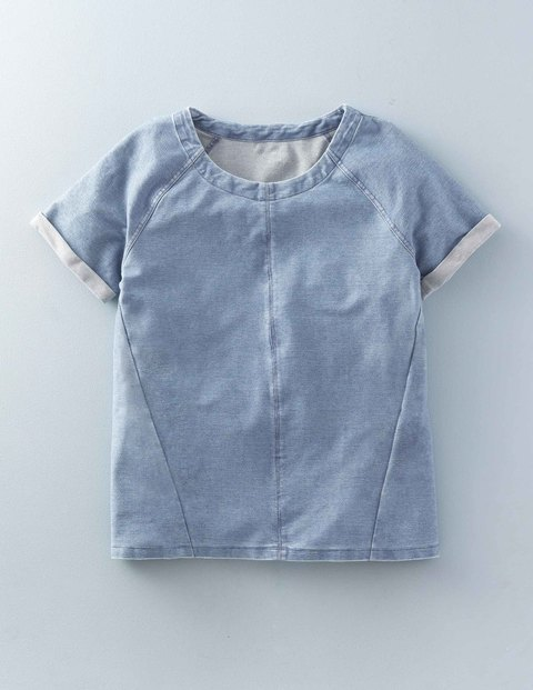 Denim Jersey Top Faded Indigo Women, Faded Indigo - neckline: round neck; pattern: plain; style: t-shirt; predominant colour: pale blue; occasions: casual, creative work; length: standard; fibres: cotton - stretch; fit: straight cut; sleeve length: short sleeve; sleeve style: standard; pattern type: fabric; texture group: jersey - stretchy/drapey; season: s/s 2016; wardrobe: highlight
