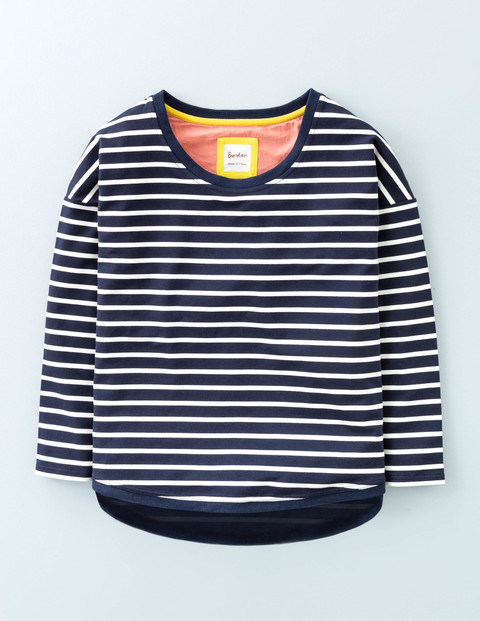 Casual Jersey Sweatshirt Navy/Ivory Women, Navy/Ivory - pattern: horizontal stripes; style: t-shirt; secondary colour: white; predominant colour: navy; occasions: casual; length: standard; fibres: cotton - stretch; fit: straight cut; neckline: crew; sleeve length: 3/4 length; sleeve style: standard; pattern type: fabric; pattern size: standard; texture group: jersey - stretchy/drapey; season: s/s 2016; wardrobe: basic