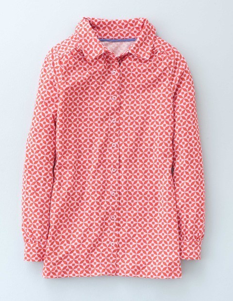 Long Jersey Shirt Reds Mosaic Women, Reds Mosaic - neckline: shirt collar/peter pan/zip with opening; length: below the bottom; style: shirt; pattern: polka dot; secondary colour: white; predominant colour: true red; occasions: casual, creative work; fibres: cotton - 100%; fit: straight cut; sleeve length: long sleeve; sleeve style: standard; texture group: denim; pattern type: fabric; pattern size: light/subtle; season: s/s 2016; wardrobe: highlight