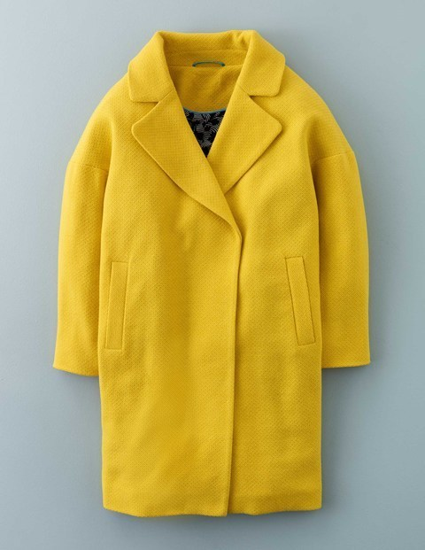 Carrie Coat Mimosa Yellow Women, Mimosa Yellow - pattern: plain; style: single breasted; collar: standard lapel/rever collar; length: mid thigh; predominant colour: yellow; occasions: casual, creative work; fit: tailored/fitted; fibres: cotton - mix; sleeve length: long sleeve; sleeve style: standard; collar break: medium; pattern type: fabric; texture group: other - light to midweight; season: s/s 2016