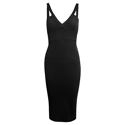 Plunge Rib Midi Bodycon Dress, Black - neckline: v-neck; sleeve style: standard vest straps/shoulder straps; fit: tight; pattern: plain; style: bodycon; predominant colour: black; occasions: evening, occasion; length: just above the knee; fibres: polyester/polyamide - stretch; sleeve length: sleeveless; texture group: jersey - clingy; pattern type: fabric; season: s/s 2016