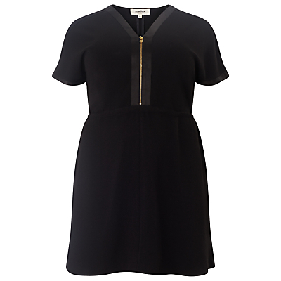 Lisa Zip Front Tunic Dress, Black - style: shift; length: mid thigh; neckline: v-neck; fit: fitted at waist; pattern: plain; bust detail: buttons at bust (in middle at breastbone)/zip detail at bust; predominant colour: black; occasions: casual; fibres: polyester/polyamide - stretch; sleeve length: short sleeve; sleeve style: standard; pattern type: fabric; texture group: jersey - stretchy/drapey; season: s/s 2016