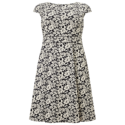 Monty Floral Print Dress, Black/White - length: mid thigh; sleeve style: capped; secondary colour: white; predominant colour: black; occasions: evening; fit: fitted at waist & bust; style: fit & flare; fibres: cotton - stretch; neckline: crew; sleeve length: short sleeve; pattern type: fabric; pattern: florals; texture group: jersey - stretchy/drapey; multicoloured: multicoloured; season: s/s 2016