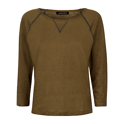 Linen Jersey Top - neckline: round neck; pattern: plain; predominant colour: chocolate brown; occasions: casual, creative work; length: standard; style: top; fibres: linen - 100%; fit: body skimming; sleeve length: 3/4 length; sleeve style: standard; pattern type: fabric; texture group: jersey - stretchy/drapey; season: s/s 2016; wardrobe: basic