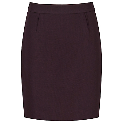 Wool Camila Textured Skirt, Grape - pattern: plain; style: pencil; fit: tailored/fitted; waist: high rise; hip detail: draws attention to hips; predominant colour: aubergine; length: just above the knee; fibres: wool - 100%; waist detail: feature waist detail; pattern type: fabric; texture group: woven light midweight; occasions: creative work; season: s/s 2016; wardrobe: highlight