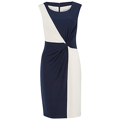 Jersey Geometric Contrast Dress, Navy/Ivory - style: shift; neckline: round neck; fit: tailored/fitted; sleeve style: sleeveless; waist detail: flattering waist detail; secondary colour: ivory/cream; predominant colour: navy; occasions: evening, occasion; length: just above the knee; fibres: polyester/polyamide - stretch; sleeve length: sleeveless; pattern type: fabric; pattern size: big & busy; pattern: colourblock; texture group: jersey - stretchy/drapey; season: s/s 2016; wardrobe: event
