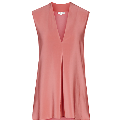 Sleeveless V Neck Top, Roseate - neckline: low v-neck; pattern: plain; sleeve style: sleeveless; bust detail: added detail/embellishment at bust; length: below the bottom; predominant colour: pink; occasions: casual, evening, creative work; style: top; fibres: silk - 100%; fit: straight cut; sleeve length: sleeveless; texture group: structured shiny - satin/tafetta/silk etc.; pattern type: fabric; season: s/s 2016; wardrobe: highlight