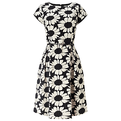 Daisy Jacquard Dress, Black/Ivory - sleeve style: capped; style: full skirt; secondary colour: white; predominant colour: black; occasions: evening, creative work; length: just above the knee; fit: fitted at waist & bust; fibres: polyester/polyamide - stretch; neckline: crew; hip detail: adds bulk at the hips; sleeve length: short sleeve; trends: monochrome; pattern type: fabric; pattern size: big & busy; pattern: florals; texture group: brocade/jacquard; season: s/s 2016; wardrobe: highlight