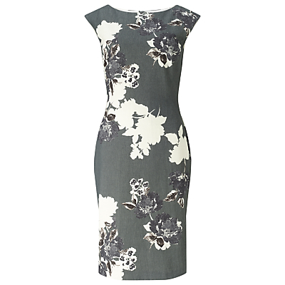 Analise Print Dress, Grey - style: shift; neckline: round neck; sleeve style: capped; fit: tailored/fitted; secondary colour: ivory/cream; predominant colour: charcoal; length: just above the knee; fibres: polyester/polyamide - stretch; occasions: occasion; sleeve length: sleeveless; pattern type: fabric; pattern size: big & busy; pattern: florals; texture group: woven light midweight; season: s/s 2016; wardrobe: event