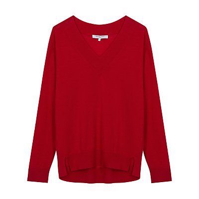 Carlotta Jumper - neckline: low v-neck; pattern: plain; style: standard; predominant colour: true red; occasions: casual, work, creative work; length: standard; fibres: wool - 100%; fit: loose; back detail: longer hem at back than at front; sleeve length: long sleeve; sleeve style: standard; texture group: knits/crochet; pattern type: knitted - fine stitch; season: s/s 2016; wardrobe: highlight