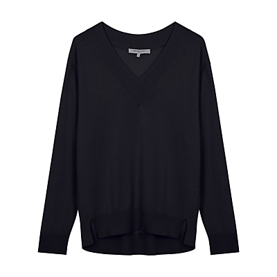 Carlotta Jumper - neckline: low v-neck; pattern: plain; style: standard; predominant colour: navy; occasions: casual; length: standard; fibres: wool - 100%; fit: loose; back detail: longer hem at back than at front; sleeve length: long sleeve; sleeve style: standard; texture group: knits/crochet; pattern type: knitted - fine stitch; season: s/s 2016; wardrobe: basic
