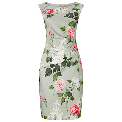 Meadow Print Dress, Mint - style: shift; neckline: slash/boat neckline; fit: tailored/fitted; sleeve style: sleeveless; secondary colour: pink; predominant colour: light grey; occasions: evening, occasion; length: on the knee; fibres: polyester/polyamide - stretch; sleeve length: sleeveless; pattern type: fabric; pattern: florals; texture group: woven light midweight; multicoloured: multicoloured; season: s/s 2016; wardrobe: event