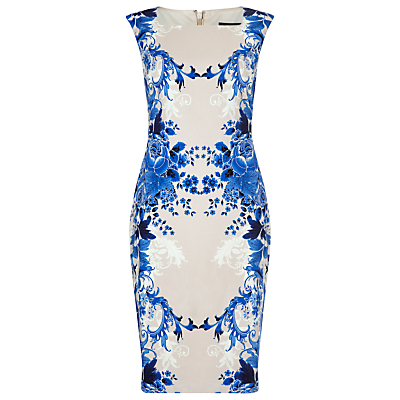 Porcelain Print Dress, Multi - style: shift; neckline: high square neck; fit: tailored/fitted; sleeve style: sleeveless; predominant colour: diva blue; secondary colour: taupe; occasions: evening, occasion; length: on the knee; fibres: polyester/polyamide - stretch; sleeve length: sleeveless; pattern type: fabric; pattern size: big & busy; pattern: patterned/print; texture group: woven light midweight; season: s/s 2016; wardrobe: event