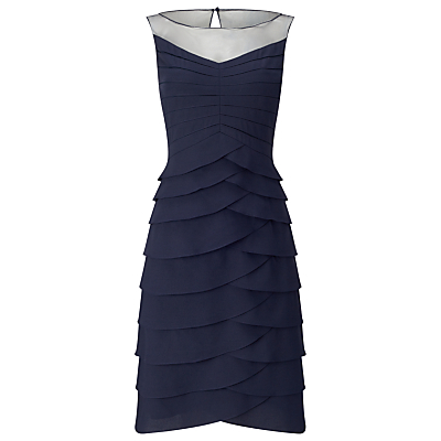 Evelina Layered Dress, Navy - style: shift; neckline: round neck; fit: tailored/fitted; pattern: plain; sleeve style: sleeveless; predominant colour: navy; occasions: evening, occasion; length: on the knee; fibres: polyester/polyamide - 100%; hip detail: adds bulk at the hips; sleeve length: sleeveless; texture group: crepes; pattern type: fabric; shoulder detail: sheer at shoulder; season: s/s 2016; wardrobe: event