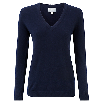 Halstead Cashmere Double V Neck Sweater, Navy - neckline: v-neck; pattern: plain; style: standard; predominant colour: navy; occasions: casual, creative work; length: standard; fit: slim fit; fibres: cashmere - 100%; sleeve length: long sleeve; sleeve style: standard; texture group: knits/crochet; pattern type: knitted - fine stitch; season: s/s 2016; wardrobe: investment