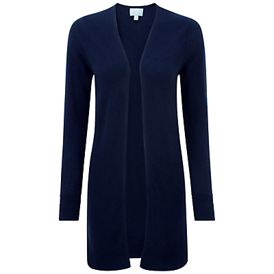 Cambridge Gassato Cashmere Rib Longline Cardigan, Navy - pattern: plain; neckline: collarless open; style: open front; predominant colour: navy; occasions: casual, creative work; fit: loose; length: mid thigh; fibres: cashmere - 100%; sleeve length: long sleeve; sleeve style: standard; texture group: knits/crochet; pattern type: knitted - fine stitch; season: s/s 2016; wardrobe: investment