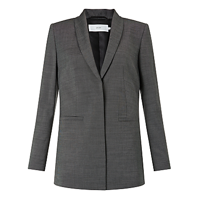 Annabella Tailored Jacket, Dark Grey - pattern: plain; style: single breasted blazer; collar: standard lapel/rever collar; predominant colour: charcoal; occasions: work; length: standard; fit: tailored/fitted; fibres: wool - mix; sleeve length: long sleeve; sleeve style: standard; collar break: medium; pattern type: fabric; texture group: woven light midweight; season: s/s 2016; wardrobe: investment