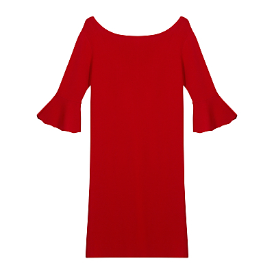 Calisi Dress - style: shift; neckline: slash/boat neckline; pattern: plain; sleeve style: trumpet; occasions: evening, occasion; length: just above the knee; fit: body skimming; sleeve length: 3/4 length; pattern type: fabric; texture group: jersey - stretchy/drapey; fibres: viscose/rayon - mix; predominant colour: raspberry; season: s/s 2016; wardrobe: event
