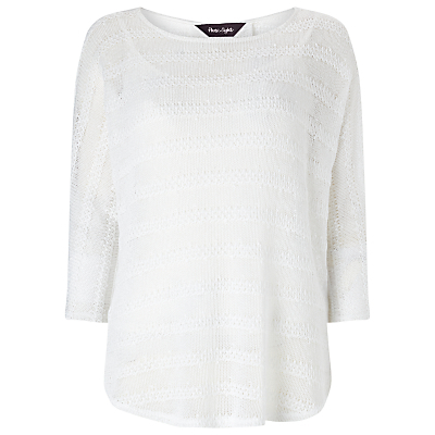 Saskia Self Stripe Top, White - pattern: plain; predominant colour: white; occasions: casual; length: standard; style: top; fibres: polyester/polyamide - stretch; fit: body skimming; neckline: crew; sleeve length: 3/4 length; sleeve style: standard; pattern type: fabric; texture group: jersey - stretchy/drapey; season: s/s 2016