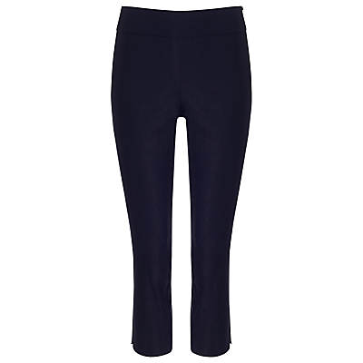 Britt Crop Trousers, Navy - pattern: plain; waist: mid/regular rise; predominant colour: navy; occasions: casual, creative work; length: calf length; fibres: cotton - stretch; texture group: cotton feel fabrics; fit: slim leg; pattern type: fabric; style: standard; season: s/s 2016; wardrobe: basic