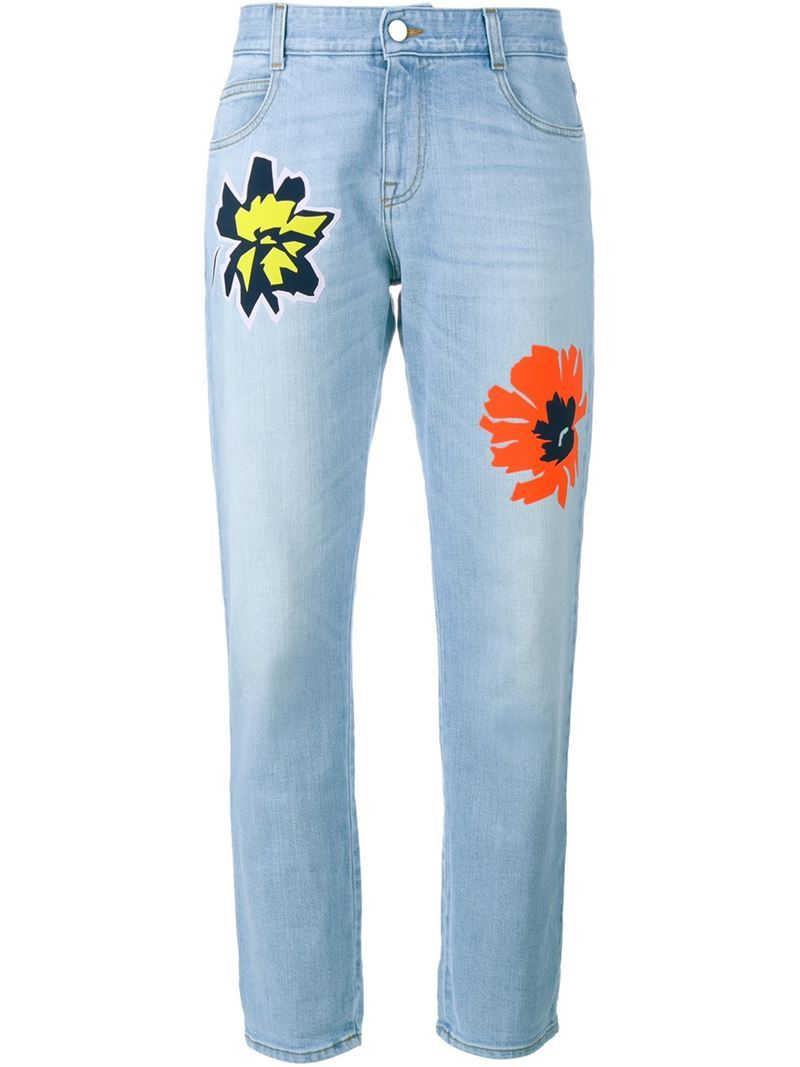Flower Embroidered Jeans, Women's, Blue - style: straight leg; length: standard; pocket detail: traditional 5 pocket; waist: mid/regular rise; predominant colour: pale blue; occasions: casual; fibres: cotton - stretch; texture group: denim; pattern type: fabric; pattern: florals; season: s/s 2016; wardrobe: highlight