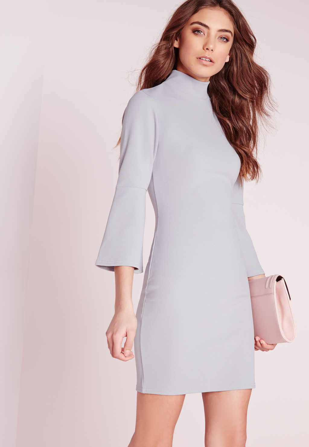 Fluted Sleeve Bodycon Dress Ice Grey, Ice Grey - style: jumper dress; length: mid thigh; pattern: plain; neckline: high neck; hip detail: fitted at hip; predominant colour: light grey; occasions: evening; fit: body skimming; fibres: polyester/polyamide - stretch; sleeve length: 3/4 length; sleeve style: standard; pattern type: fabric; texture group: other - light to midweight; season: s/s 2016