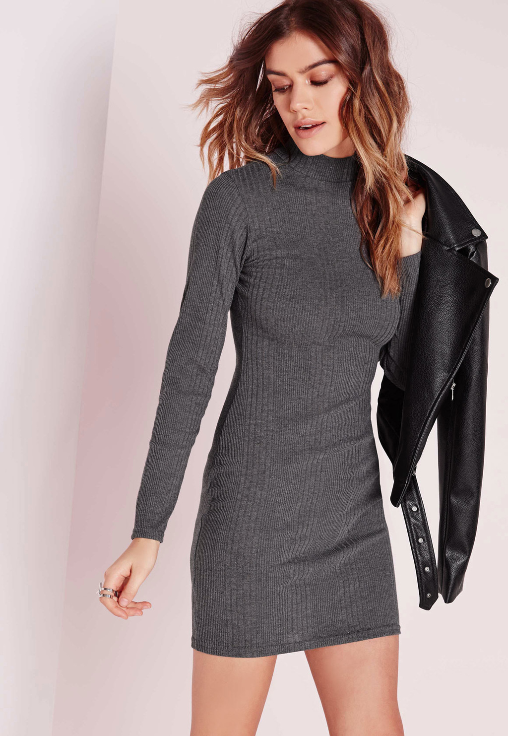 High Neck Long Sleeve Rib Bodycon Dress Grey Marl, Grey - length: mini; fit: tight; neckline: high neck; style: bodycon; hip detail: fitted at hip; predominant colour: charcoal; occasions: casual, creative work; fibres: polyester/polyamide - stretch; sleeve length: long sleeve; sleeve style: standard; pattern type: fabric; texture group: jersey - stretchy/drapey; pattern: marl; season: s/s 2016
